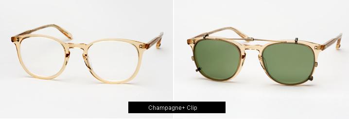 Garrett Leight Kinney Eyeglasses w/ Clip - Champagne