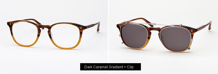Garrett Leight Kinney Eyeglasses w/ Clip - Dark Caramel Gradient