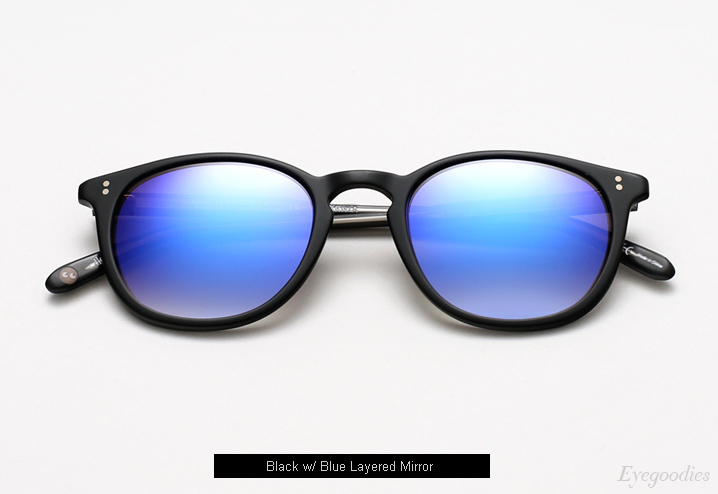 Garrett Leight Kinney Sunglasses - Matte Black w/ Blue Layered Mirror