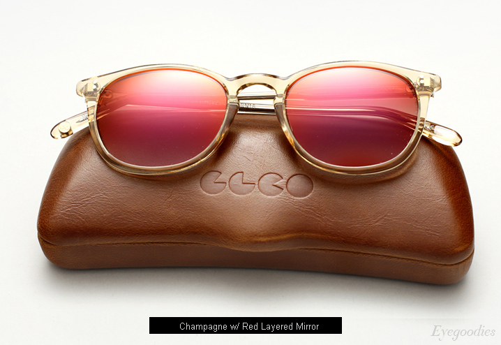 Garrett Leight Kinney Sunglasses -Champagne w/ Red Layered Mirror