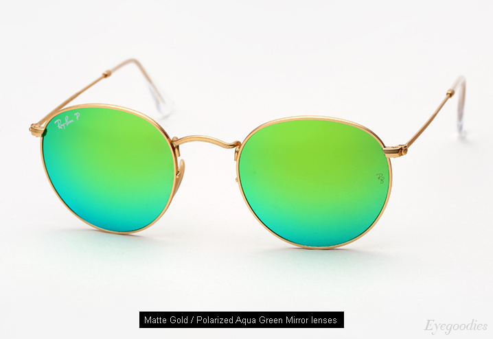 Ray Ban Round Metal 3447 Sunglasses - Polarized Aqua Green Mirror