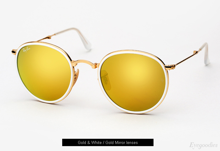 ray ban sunglasses golden  ray ban round metal folding 3517 sunglasses gold mirror