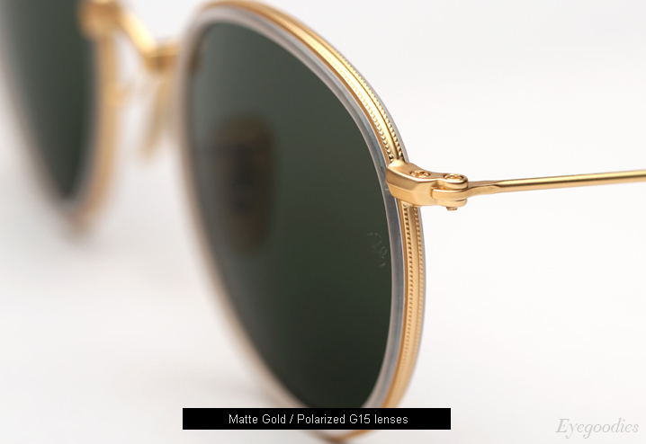 Ray Ban Round Metal Folding 3517 sunglasses - Matte Gold / G15 Polarized