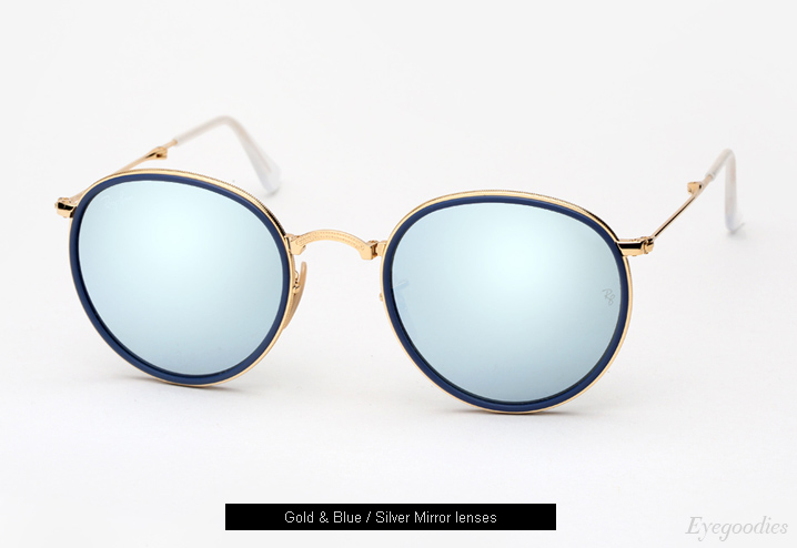 latest ray ban sunglasses  ray ban rb 3517 round metal folding gold w/ silver mirror · ray ban sunglasses