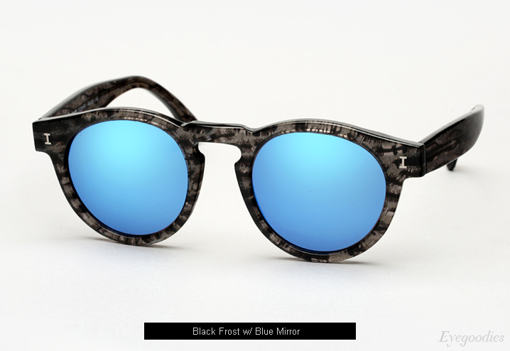 Illesteva Leonard sunglasses - Black Frost w/ Blue Mirror