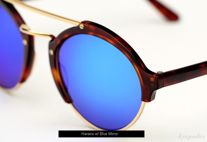 Illesteva Milan 2 sunglasses - Havana w/ Blue Mirror