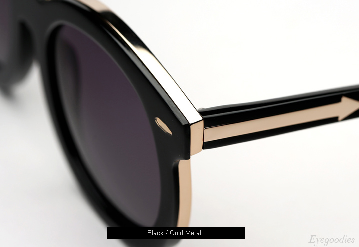 Karen Walker Super Duper Thistle Sunglasses - Black / Gold Metal