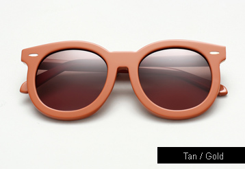Karen Walker Super Duper Thistle Sunglasses - Tan / Gold Metal