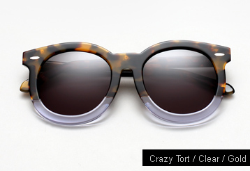 Karen Walker Super Duper Thistle Sunglasses - Tortoise / Clear / Gold Metal