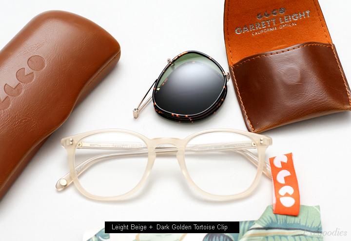 Garrett Leight Leight Beige Eyeglass + Dark Golden Tortoise Clip