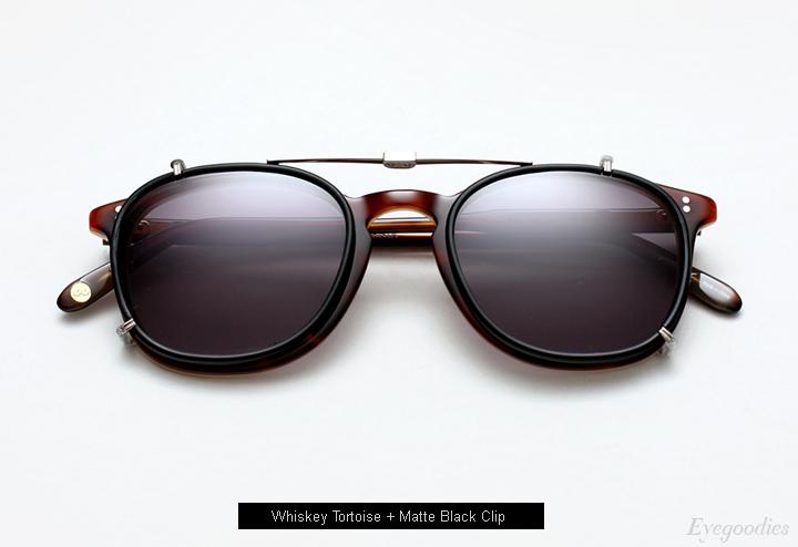 Garrett Leight Kinney Whiskey Tortoise eyeglass + Clip