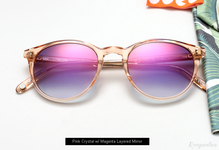 Garrett Leight Milwood sunglasses - Crystal Pink w/ Magenta Layered Mirror