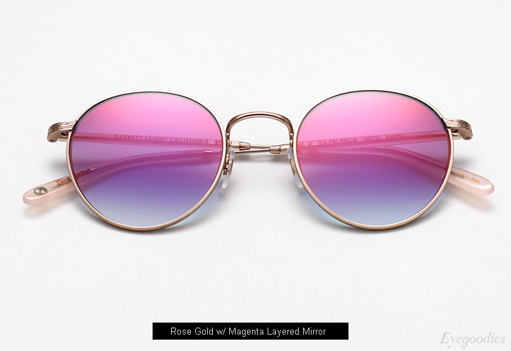 Garrett Leight Wilson M Sunglasses - Magenta Layered Mirror