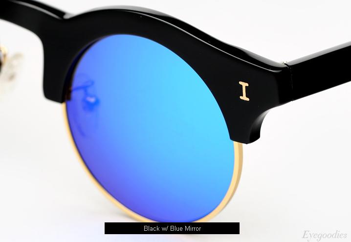 Illesteva Corsica Sunglasses - Black w/ Blue Mirror