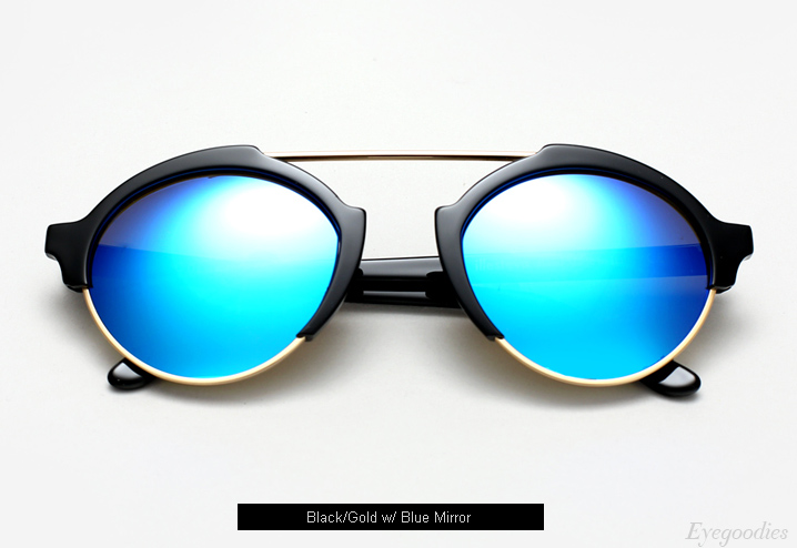 Illesteva Milan 3 sunglasses - Black with Blue Mirror