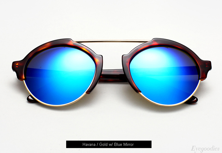 Illesteva Milan 3 sunglasses - Havana with Blue Mirror