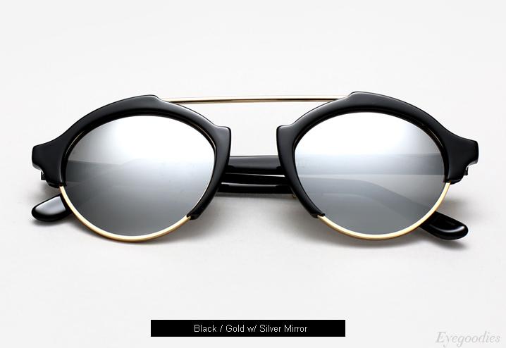 Illesteva Milan 4 sunglasses - Black w/ Silver Mirror
