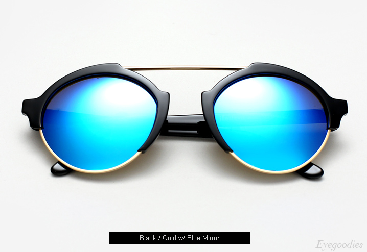 Illesteva Milan 4 sunglasses - Black w/ Blue Mirror
