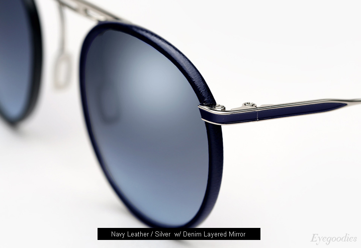Garrett Leight Cordova sunglasses - Navy Leather