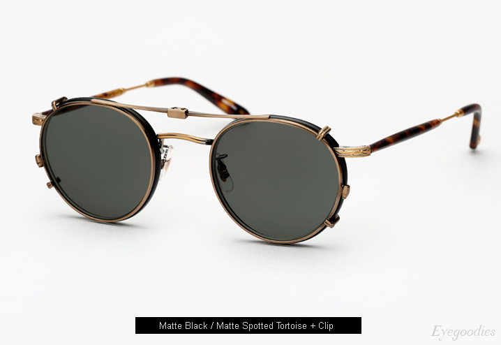 Garrett Leight Wilson Eyeglasses with Clip-On Lenses - Matte Black