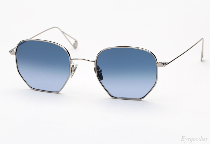 Garrett Leight X Mark McNairy, Liberty sunglasses - Silver w/ Blue Gradient