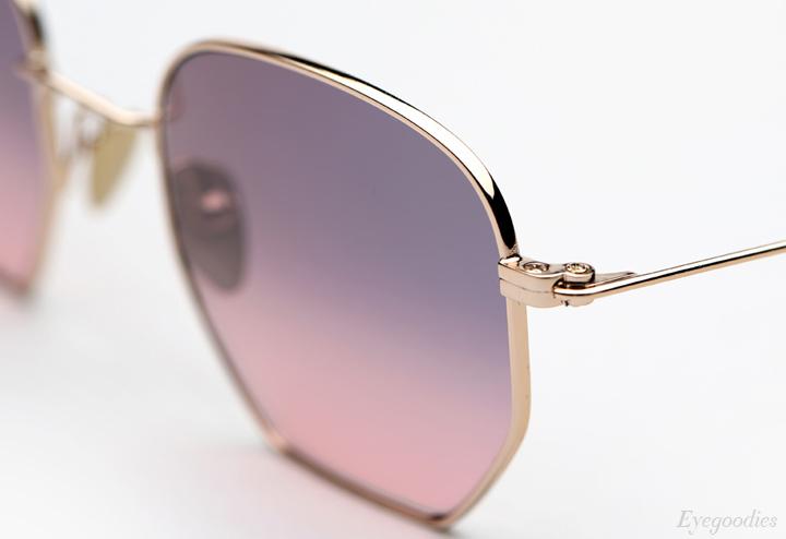 Garrett Leight X Mark McNairy, Liberty sunglasses - Gold w/ Pink Gradient