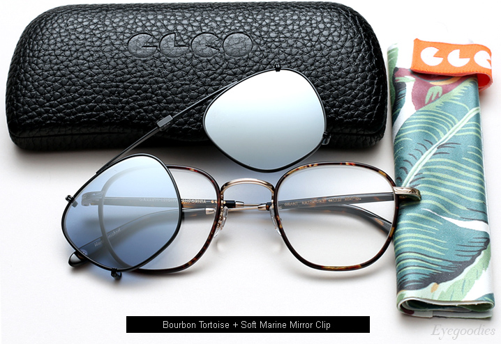 Garrett Leight Grant eyeglasses with clip-on lenses