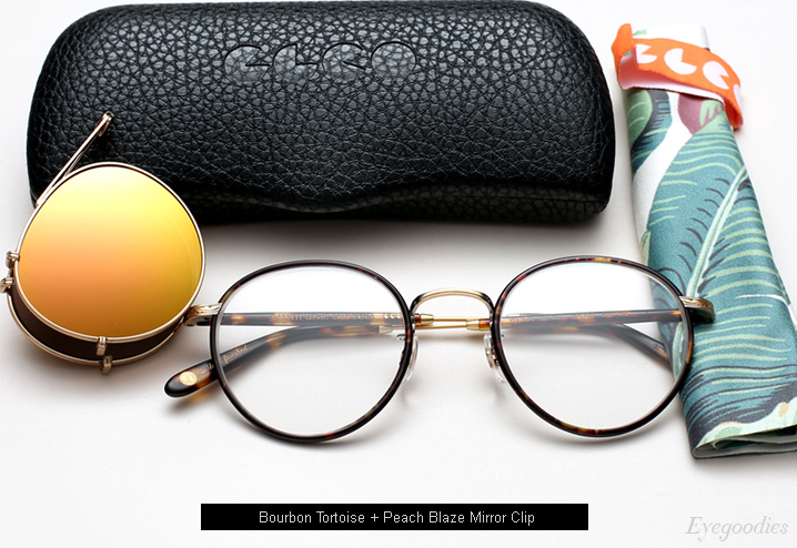 Garrett Leight Wilson Eyeglasses Bourbon Tortoise with Peach Blaze Mirror Clip-On