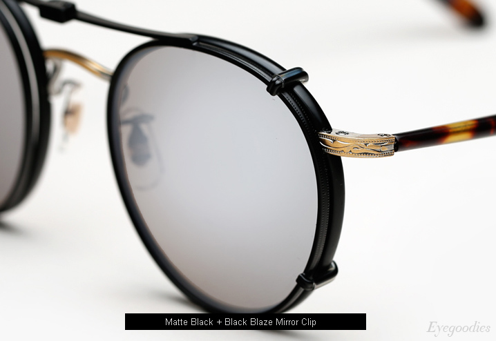 Garrett Leight Wilson Eyeglasses Matte Black with Black Blaze Mirror Clip-On