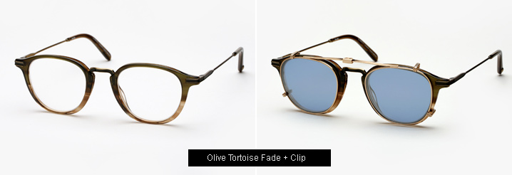 Garrett Leight Hampton Combo eyeglass - OliveTortoise Fade