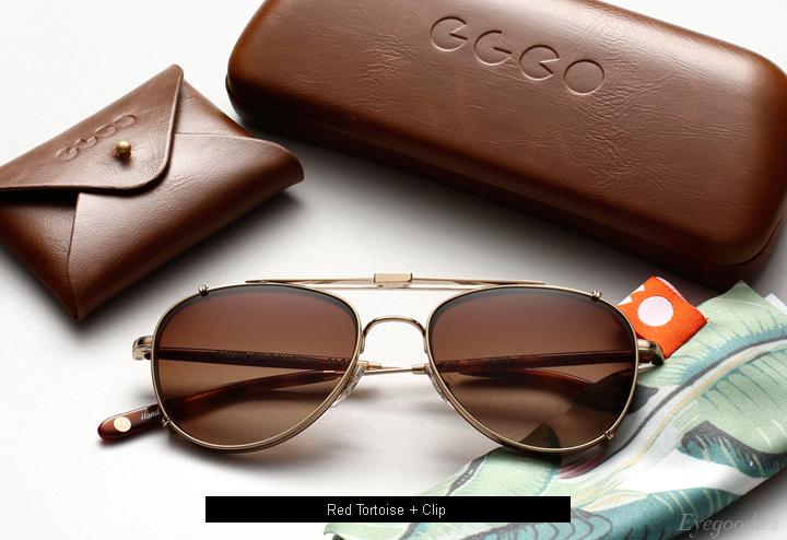 Garrett Leight Linnie eyeglasses - Red Tortoise + Clip