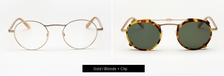 Garrett Leight Penmar eyeglasses - Gold/ Blonde+ Clip