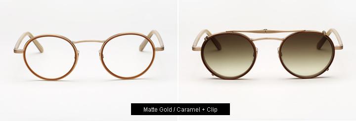 Garrett Leight Penmar eyeglasses - God/Caramel + Clip