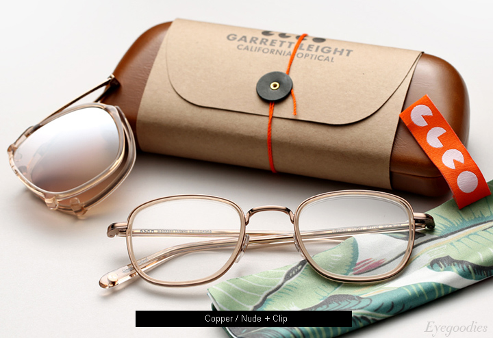 Garrett Leight Garfield eyeglasses - Copper Nude + Clip