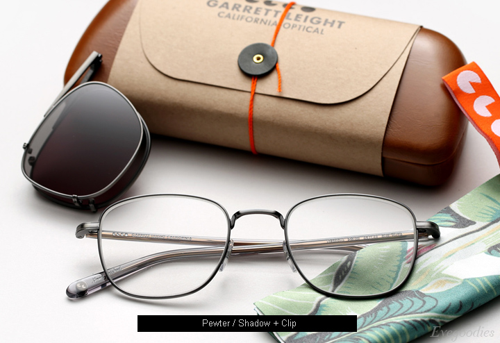 Garrett Leight Garfield eyeglasses - Pewter / Shadow + Clip