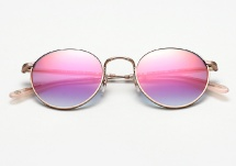 Garrett Leight Wilson M - Rose Gold w/ Magenta Layered Mirror