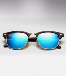 Ray Ban RB 3016 Clubmaster - Matte Havana / Blue Mirror