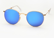 Ray Ban RB 3532 Round Metal Folding - Gold w/ Blue Mirror