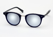 Garrett Leight X Mark McNairy, Pinehurst - Navy w/ Blue Magic Mirror