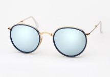 Ray Ban RB 3517 Round Metal Folding - Gold w/ Silver Mirror