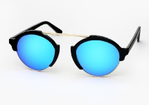 Illesteva Milan 4 - Black w/ Blue Mirror