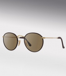 Ray Ban RB 3475Q Round Craft - Brown Leather / Matte Gold