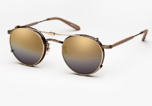 Garrett Leight Wilson - Brown Pearl + Gold Mirage Mirror Clip (Eye)