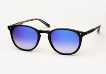 Garrett Leight Kinney - Matte Black / Blue Layered Mirror