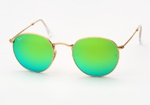 Ray Ban RB 3447 Round Metal - Gold w/ Aqua Green Mirror Polarized