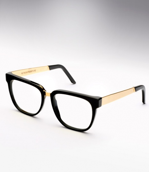 Black And Gold Eyeglass Frames : Super People Black & Gold Metal M&A Eyeglasses