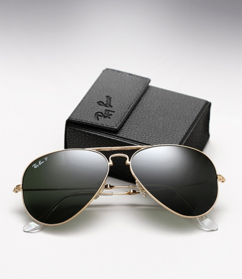 ray ban folding aviator gold