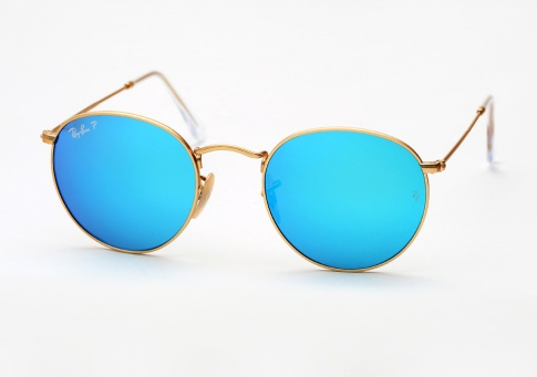 Ray Ban Rb 3447 Round Metal Sunglasses Gold W Blue Mirror Polarized