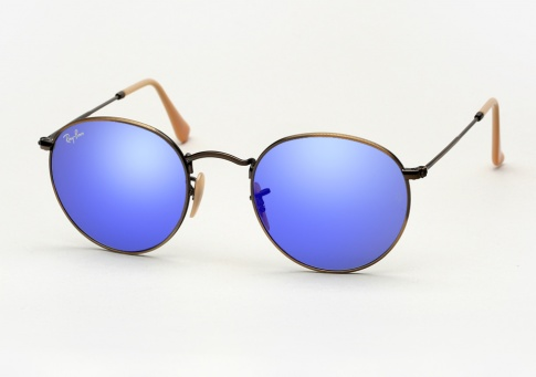 ce0070ba530 Ray Ban RB 3447 Round Metal Sunglasses - Bronze w  Blue Mirror