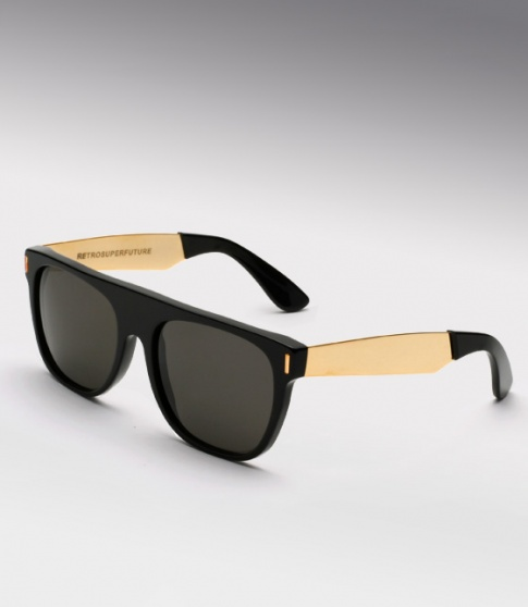Super Flat Top Sunglasses Gold Super Flat Black Amp Gold